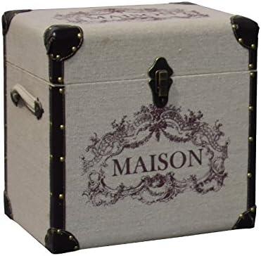 La Sonora Deco baúl baúl – Caja de almacenaje (Madera y Tela, 43 x 29 x 43 cm: Amazon.es: Hogar