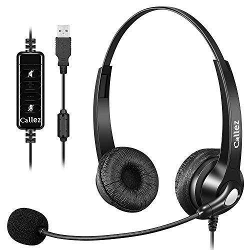 🥇 Auriculares USB con micrófono cancelación de ruido y controles de audio