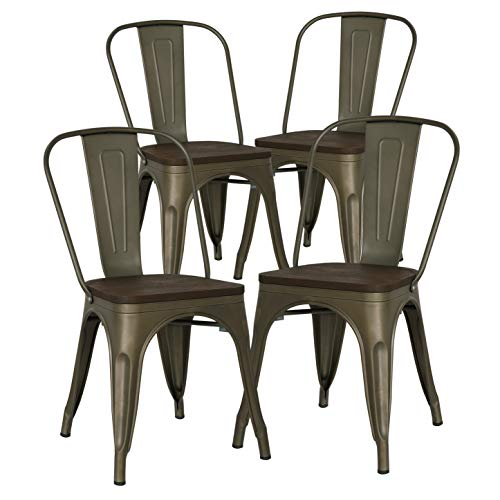 Poly and Bark Trattoria Side Chair with Elm Wood Seat in Bronze (Set of 4) - Maple Wood Finish Chair