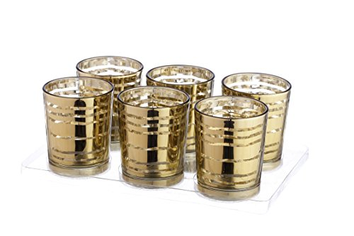 V-More Laser Cut Mercury Glass Votive Candle Holder Tealight Holder 2.55-inch Tall Set of 6 For Home Decor Wedding Party Celebration (Gold Wave)
