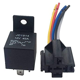 Socket 40A 5-Pin Switching Relay LED Indicator 12V Automotive Changeover Relay