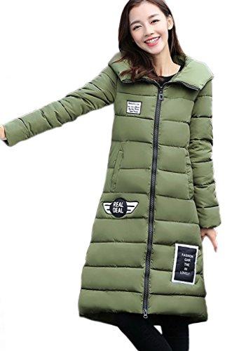 Capucha Para Abrigo Larga Chaqueta Invierno Y Con De Cálida Mujer Slim Bigood Green 5qHnxRv