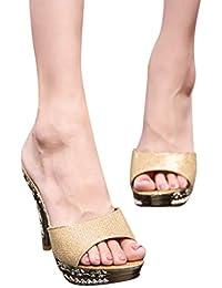 Women Stiletto Heel Sandals, Ladies Peep Toe Block Heel Plarform Slipper, Casual Party Single