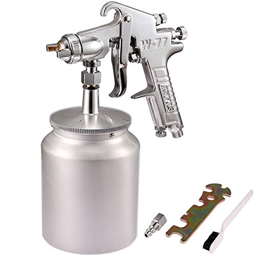 Valianto W77 Siphon Feed Spray Gun with 1000cc Cup, 3.5mm Nozzle Spray Gun, Silver Handle ()