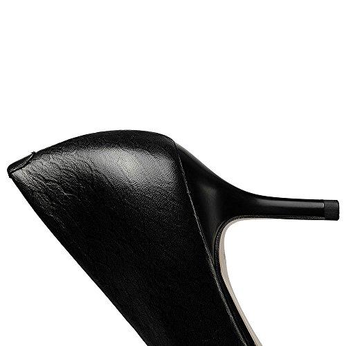 Nine Seven Cuero Puntiagudos Tacones de Aguja de Serpiente de Vestir para Mujer negro