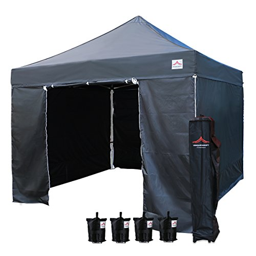 UNIQUECANOPY 10x10 Ez Pop up Canopy Tents for Parties Outdoor Portable Instant Folded Commercial Popup Shelter, with 4 Zippered Side Walls and Wheeled Carrying Bag Bonus 4 Sandbags Black ()