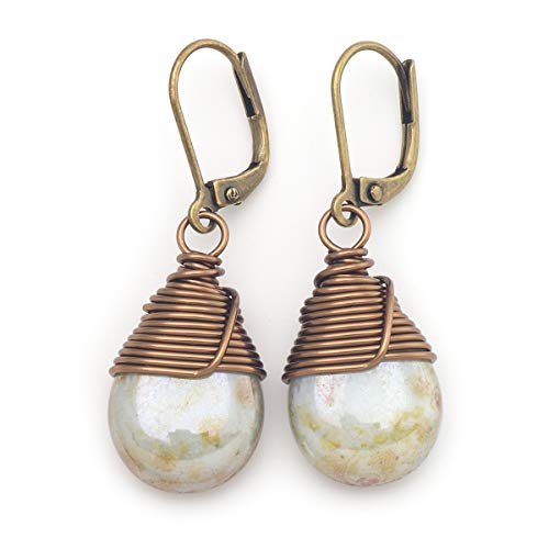 (Lustrous opaque Czech glass wire-wrapped drop bronze lever-back earrings)