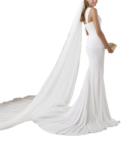 Weiß BRIDE Brautkleider Schulter Hochzeitskleider Hochzeitskleid elegante Einfache Ein GEORGE Chiffon Riemen 6AxvTafqw