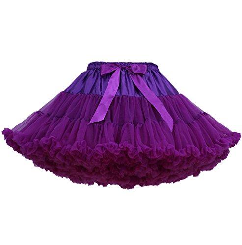 Jupe Tutu Femme Jupon Tulle Fille Adulte Dguisement Tutu Danse Bouffante Jupe Froufrou Jupes Tulles Pettiskirt Deguisement Classique Petticoat Layered Ruffle Princesse Ballet Violet