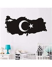 Turkije Kaart Holle Maan en Ster Kinderkamer Waterdichte Zelfklevende Vinyl Home Wanddecoratie DIY Muursticker 59Cmx29Cm