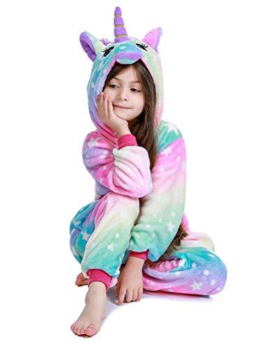 PlushCosplay Kids Galaxy Star Unicorn Onesie Pajamas Animal Costume Halloween Cosplay Colorful 8-10T