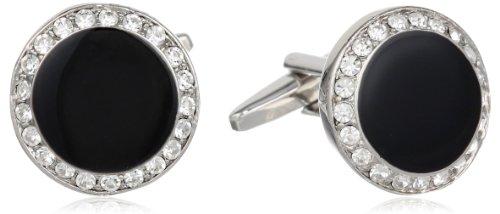 (Stacy Adams Men's Round Silver Cuff Link W/blk Enamel & Crystals, Crystal, One Size)