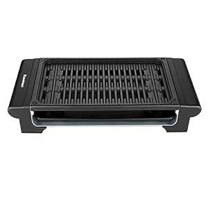 Excelvan Indoor Electric Barbecue Grill Adjustable Temperature Control Easy Clean, 1120W, Black, 20 X 9 X 4 Inch