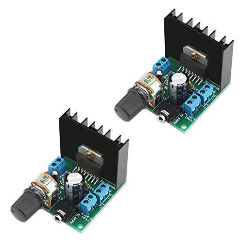 DROK - Amplificador de potencia de audio (2 unidades, TDA7297 AC/DC 9-18 V, 12 V, 15 W + 15 W 2,0, doble canal, componente de...