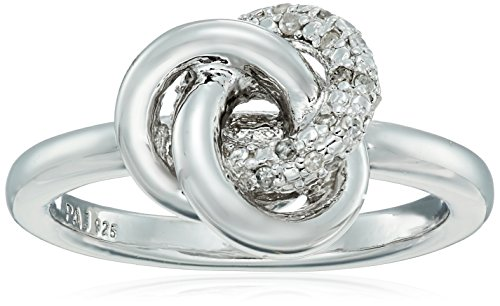 Sterling Silver Diamond Love Knot Ring (1/10cttw, I-J Color, I2-I3 Clarity), Size 7 (Diamond Knot Ring)