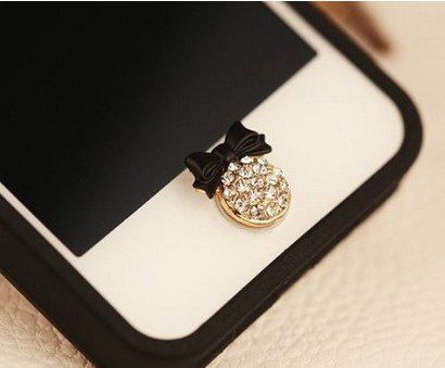 Big Mango Black Bowknot and Crystal Iphone Home Return Key Button Sticker / Phone Charms for Apple Iphone 5 Iphone 4 Ipod Touch Ipad Tablet Replace Replacement