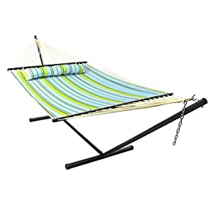 SHZOND Blue & Green Quilted Double Fabric Hammock with Bars Pillow and Stand