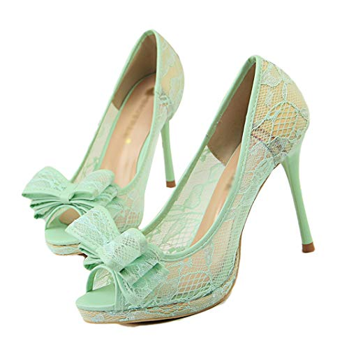 (Drew Toby Women Pumps Sexy Cut-Outs Mesh Peep Toe Flower Lace Fashion Shallow High Heels)