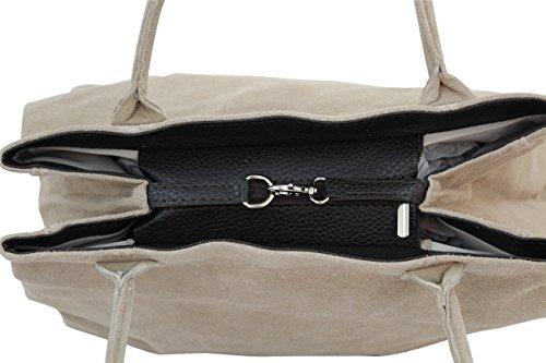 femme en Sac épaule velours Shopper WL810 Dunkelsand Moda daim pour cuir à Stein AMBRA Sac portés en main 81qcxF