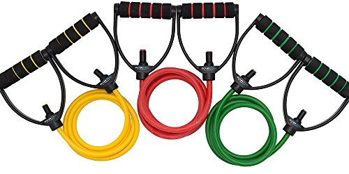 DYNAPRO Resistance Bands by Workout Equipment with Easy Grip D Handle, Adjustable Length, and 5 Tension Levels