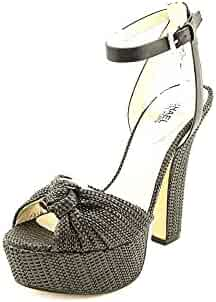 93a1ec12ab41b MICHAEL Michael Kors Women s Benji Ankle Strap Black Soft Straw Vanchetta  Sandal 9.5 M