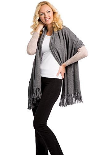 Fishers Finery Women's 100% Cashmere Knit Scarf with Fringe (Iron Gate) by Fishers Finery