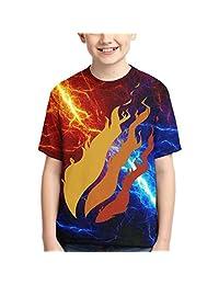 Ongjiadx Fire Nation Prestonplayz Boys and Girls Casual Short Sleeve Print T-Shirts, Youth Fashion Tops