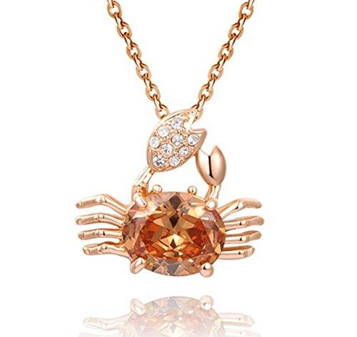 Shining Life Rose Gold Plated Austrian Crystal Cancer Horoscope Sign Crab Pendant Elegant Necklace