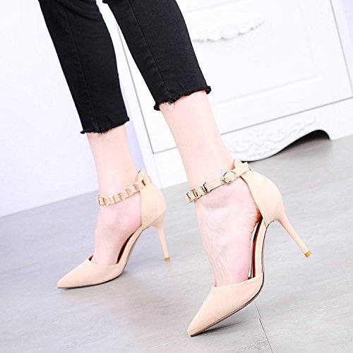 Match Sexy Shoes Work All Elegant MDRW Buckle Elegant Spring 9Cm Beige Lady With Pointed Fine 35 A Heels Shoes Leisure A YwCwa7