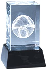 Natico Crystal Paperweight Block with Baseball and Wood Stand (60-CR-240)