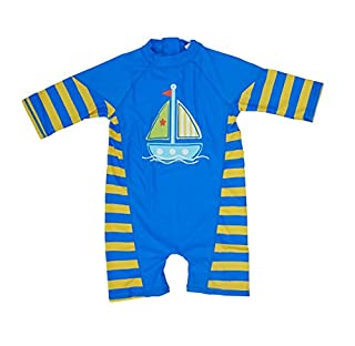 BONVERANO Kids UPF 50+ Sun Protection S/S One Piece Zip Sunsuit with Sun Cap(18-24 Months, Yellow/Blue) (B01MSY1Y8D) | Amazon price tracker / tracking, Amazon price history charts, Amazon price watches, Amazon price drop alerts