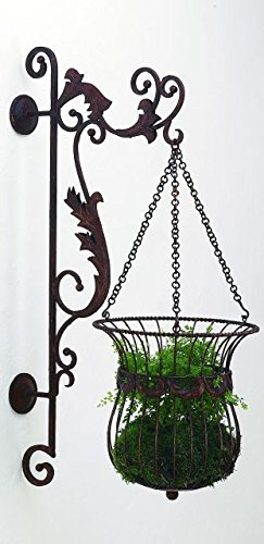 Acanthus Scroll Iron Hanging Basket Bracket Set | Wall Planter Outdoor by Intelligent Design