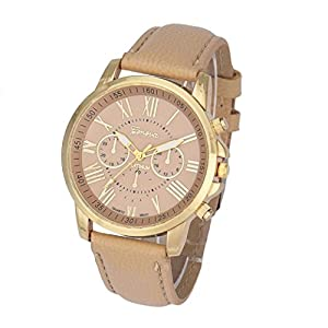 Feature: 100% brand new and high quality A classic look, this fashion geneva roman numerals analog quartz wrist watch is specially designed with metal case and faux leather band Style: Casual Model: 9298 Features: Easy To Read Case Diame...