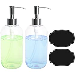 Soap Dispensers Bottles 16oz Countertop Lotion Clear With Stainless Steel Pump ULG Empty BPA Free Liquid Hand Soap Dispenser Kitchen and Bathroom Boston Round Plastic Press Bottle 2 Pack