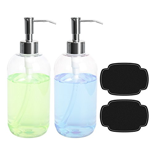 ULG Soap Dispensers Bottles 16oz Countertop Lotion Clear with Stainless Steel Pump Empty BPA Free Liquid Hand Soap Dispenser Boston Round Plastic Press Bottle 2 Piece ()