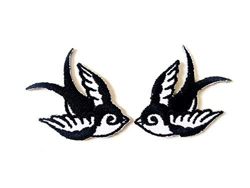 Tyga_Thai Brand Set 2 pcs. Mini Cute Little Bird Tattoo Swallow Dove Sparrow Jacket T-Shirt Sew Iron on Embroidered Applique Badge Sign Patch Clothing etc. (Iron-Bird-Swallow-BK)