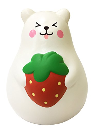 ibloom Slow Rising [Squishy Collection] Marshmallow Bear Mini Mr. White Smile Strawberry [Scented] Animal Squishy Kids Cute Adorable Doll Stress Relief Toy Decorative Props [Red]