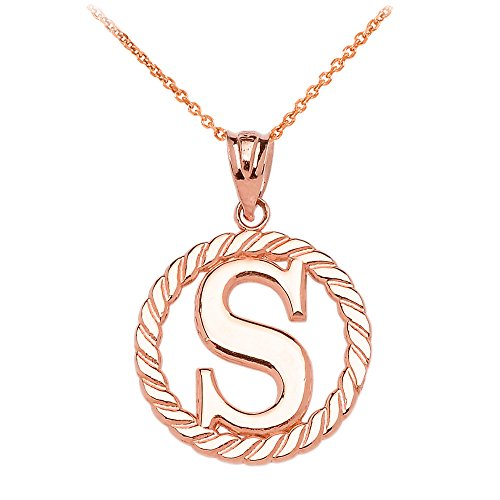 """Collier Femme Pendentif 10 Ct Or Rose """"S"""" Initiale À Corde Cercle (Livré avec une 45cm Chaîne)"""