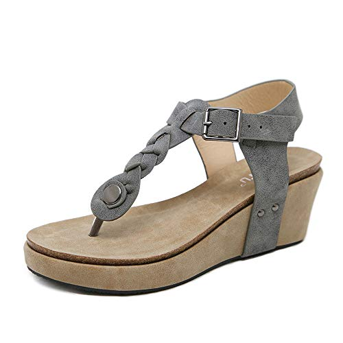Wollanlily Women's Wedge Sandals T-Strap Thong Platform Slingback Ankle Strap Bohemia Summer Flip Flop Sandal Shoes(Grey, US 8.5)