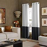 Curtainworks Kendall Color Block Grommet Curtain Panel, 52 by 84', White/Dark Grey