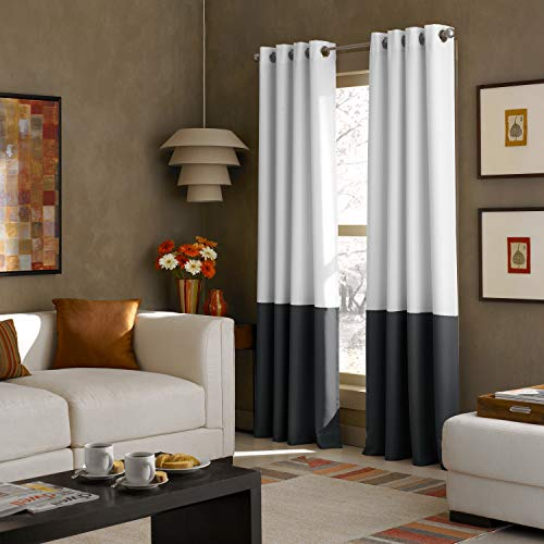 Curtainworks Kendall Color Block Grommet Curtain Panel, 52 by 84