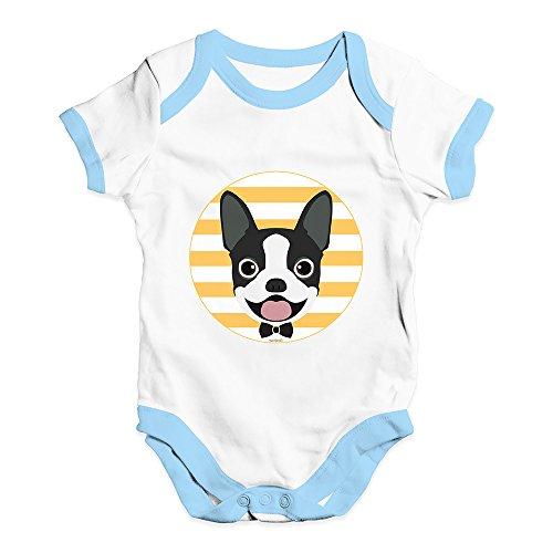 (Funny Infant Baby Bodysuit Onesies Boston Terrier Bow Tie Baby Unisex Baby Grow Bodysuit 0-3 Months White Blue Trim)