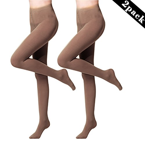 2 Pair of Womens 120 Denier Semi Opaque Solid Color Footed Pantyhose Tights, Coffee 120 Denier Tights