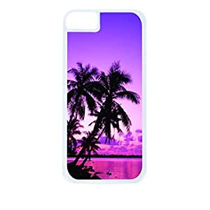 Purple Palm Tree Sunset- Case for the Apple Iphone 4-4s Universal-Hard White Plastic Outer Shell with Inner Soft Black Rubber Lining