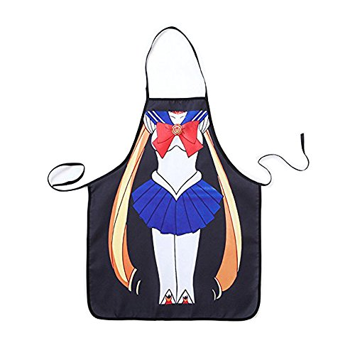 FSK Polyester Cartoon Sailor Moon Creative Kitchen Bib Aprons for Cooking, BBQ, Gardening, or Painting (Sailor Moon Material)