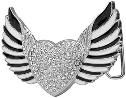 Womens Rhinestone Studded Heart with Wings Belt Buckle Cute Fashion Belt Buckle Fits Belts Up to 1.5 Inches Wide