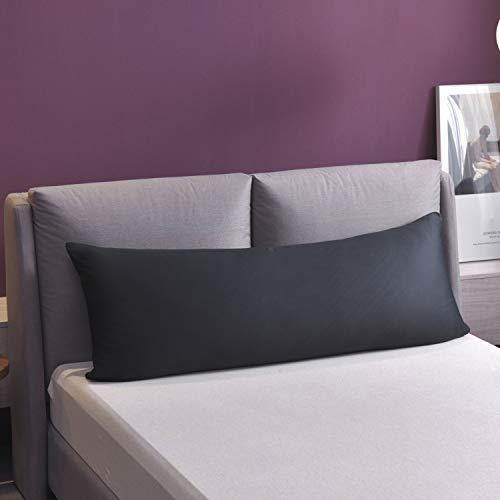Super Soft Body Pillowcase,with Zipper and No Zipper Available YAROO Microfiber Body Pillow Cover 21 x 54 Dark Gray-No Zipper