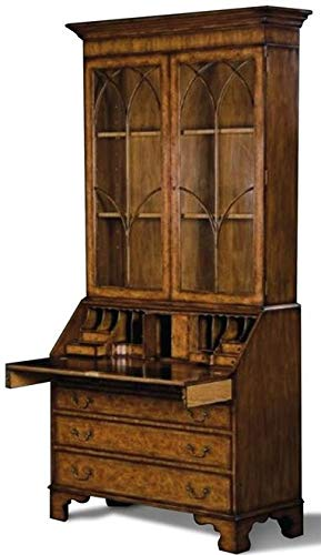 Scarborough House Bureau Bookcase Myrtle Burl Inlay Hand Glass Leather Brass