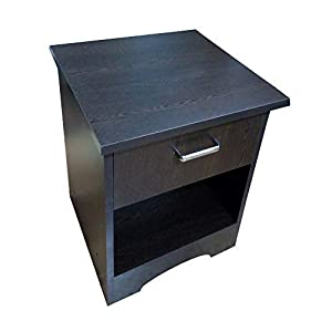 AAROORA Bedside END Table with Drawer and Storage Cabinet (Wenge Finish)