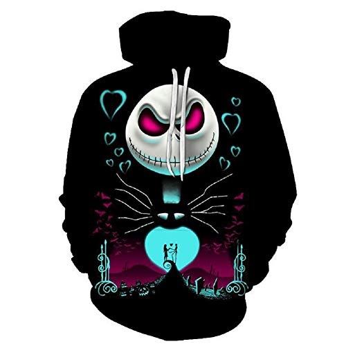 The Nightmare Before Christmas Jack & Sally Skellington Face Pullover 3D Hoodie M